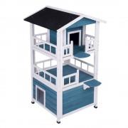 bitiba Casita Penthouse para mascotas - 72 x 72 x 124,5 cm (L x An x Al) - azul / blanco