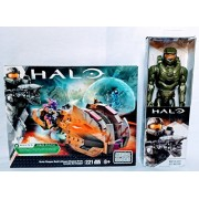 "Mega Bloks Halo Brute Chopper Raid and BONUS Halo 12"" Master Chief Figure Bundle - 2 pieces"