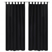 vidaXL 2 pcs Black Micro-Satin Curtains with Loops 140 x 175 cm