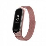 Curea metalica tip plasa pentru bratara fitness Xiaomi Mi Band 3 / 4 cu prindere magnetica roz