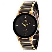Iik Stylish Golden Black Stainless Steel Analog Watch for Men's