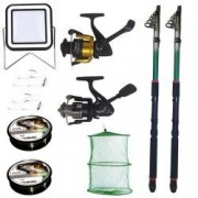 Set pescuit sportiv cu 2 lansete eastshark 2 4m doua mulinete proiector solar si accesorii