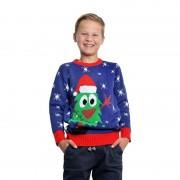 Geen Blauwe kerst trui met kerstboom voor kinderen
