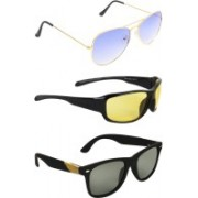 Zyaden Aviator, Wrap-around, Wayfarer Sunglasses(Blue, Yellow, Black)