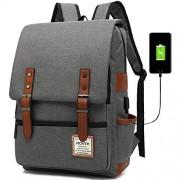 MCWTH T Mochila para portátil de viaje, delgada, durable, con puerto de carga USB, resistente al agua para colegio y estudiante, bolsa de computadora para mujeres y hombres, compatible con portátiles de 15,6 pulgadas y cuaderno, gris, Fits up to 15.6'