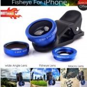 EH 180 ° Clip En El Ojo De Pez De ángulo Kit De La Lente De La Cámara Macro Ancha Para Las Tabletas De Teléfono-Azul
