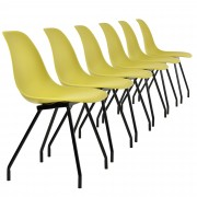 [en.casa]® Sada dizajnových stoličiek - 6 kusov - muštárovo žlté