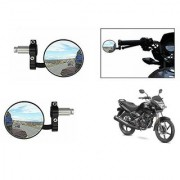 Kunjzone Bike Handle Grip Rear View Mirror BLACK Set Of 2- For Honda CB Unicorn 150