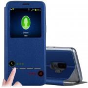 Para Samsung Galaxy S9 + Frosted Con Textura De Funda De Cuero Flip Horizontal Llamada Pantalla Id Y Slideunlock Slip Y Titular (azul)