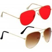 LAER Aviator Sunglasses(Red, Brown)