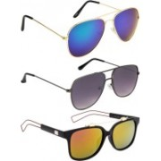 NuVew Aviator, Retro Square, Wayfarer Sunglasses(Blue, Green, Grey, Green, Pink)