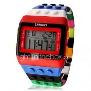 Dames Modieus horloge Horloge Hout Digitaal horloge Digitaal LCD Kalender Chronograaf alarm Plastic Band Snoep Cool Meerkleurig