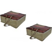 PRAHAN INTERNATIONAL Non Woven Blanket Cover Bag With Handle Pack Of 2 PI-C2B003(Beige)