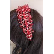 Дизайнерска кристална диадема за коса за сватба и бал в червено модел Red Queen by Rosie