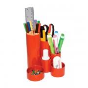 Suport instrumente de scris Flaro, 4 compartimente, rosu rosu 4 compartimente Plastic Suport instrumente de scris