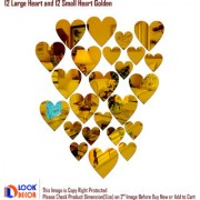 Look Decor-12 Large 12 Small Heart-(Golden-Pack of 24)-3D Acrylic Mirror Wall Stickers Decoration for Home Wall Office Wall Stylish and Latest Product Code Number 677