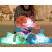 Plush Colorful Induction LED Light Dog Shape Doll Throw Pillow Party Decor Toys Gift