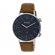 Simplify The 3300 Leather-Band Watch - Silver/Navy/Brown SIM3303