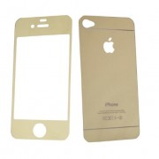 Folie Sticla iPhone 4S iPhone 4 Set 2 Buc Fata si Spate Mirror Auriu Galben Gold Protectie Antisoc Tempered Glass