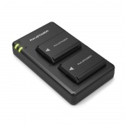 RAVPOWER 2x 1100mAh Replacement Batteries for Sony NP-FW50 with Charger Set Black