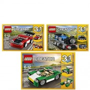 LEGO Creator Toy Bundle Includes Green Cruiser 31056, Blue Express 31054, and Red Racer 31055 Building Sets.