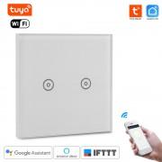 WiFi Inteligentný Dotykový vypínač 2CH bez nulový vodič Tuya Smart Life