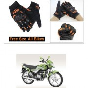 AutoStark Gloves KTM Bike Riding Gloves Orange and Black Riding Gloves Free Size For Hero HF Deluxe Eco