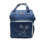 Rucsac multifunctional, geanta mamici-organizator cu broderie Ganen Baby, Bleumarin