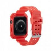 Curea cu husa 2 in 1 sport antisoc din silicon pentru Apple Watch 4 Series 44mm rosu