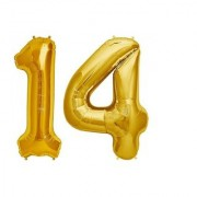 De-Ultimate Solid Golden Color 2 Digit Number (14) 3d Foil Balloon for Birthday Celebration Anniversary Parties