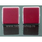 Tabachera metalica cu imitatie piele rosie 0059