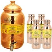 Taluka Pure Copper Handmade Water Pot Tank Matka Dispenser   2000 ML Capacity   with Set 4 Copper Bottle Water Bottle Joint free - Leak Proof Bottle 1000 ML Each   For Kitchen Good Health Benefit