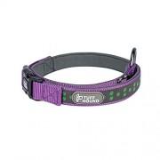 Shefure Lost-anti ID personalizado collar de perro for mascotas ajustable de nylon reflectante perro de la seguridad holográfica collar del animal doméstico del lazo de la hebilla Placas de Identifica