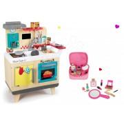Set bucătărie de jucărie din lemn Wood Cook Smoby cu aparat de cafea şi gentuţă cu cosmetice din lemn 311901-9