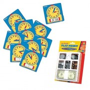 Basic Life Skills Educational Toy Bundle with Learning Resources Write On / Wipe Off Clock and Educational Insights Play Money