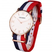 Cagarny 6812 Conciso Estilo Ultra - Delgada Muñeca Reloj De Cuarzo Con Banda De Nylon A Rayas Para Parejas (caja De Dorado Rosa)