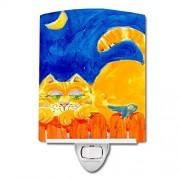 Caroline's Treasures Luz Nocturna de cerámica, diseño de Gato en la Valla, Color Naranja, 15,2 x 10,2 cm, Multicolor