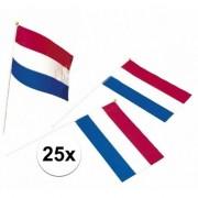 Geen Holland zwaaivlaggen plastic 25 stuks