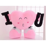 Grabadeal Valentine Heart holding I and U (Pink) - 40 cm