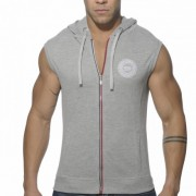 ES Collection Pique Hoody With Full Zip Sleeveless Sweater Heather Grey SP049