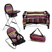 Mommy Me 3 in 1 Doll Play Set Striped 1 Doll Pack N Play. 2 Doll Bouncer 3.Doll High Chair. Fits 18 Doll