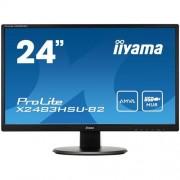 Monitor iiyama X2483HSU-B2, 24'', LCD, AMVA, 4ms, 250cd/m2, 3000:1 (12M:1 ACR), VGA, DVI, HDMI, USB, repro