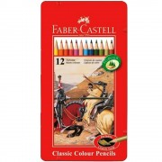 Creioane colorate 12 culori/set FABER-CASTELL cutie metal FC115844
