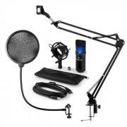 Auna MIC-900B-LED Juego de micrófono V4 USB Micrófono de condensador Protector antipop Brazo para micrófono negro LED
