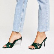 River Island Womens Green leather leopard print heel mules (7)
