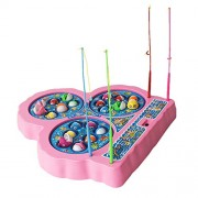 ToysCentral Go Go Fishing Game Toy Set with Three Rotating Ponds, Includes 21 Fish and 4 Fishing Poles, Safe for Toddlers and Kids