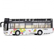 Emob Double Decker Metal Pull Back White City Bus Toy with Light and Sound Features (Multicolor)