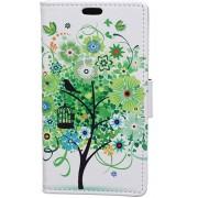 Motorola Moto E4 Portemonnee Flip Hoesje Print Boom Groen