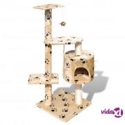 vidaXL Penjalica Grebalica za Mačke 114 cm s 1 Kućicom Bež s Otiskom Šapa