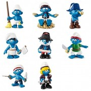 Schleich Smurf Pirate Ship Set of Eight with Captain Cook Girl Pirate Fighters Telescope Pirate Boy and Smurf with Treasures Packaged Together in One Bag Ready to Give